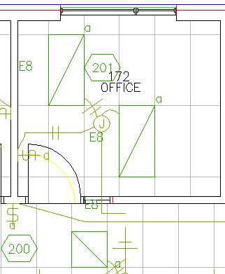 Small area of floor plan with fixture tags